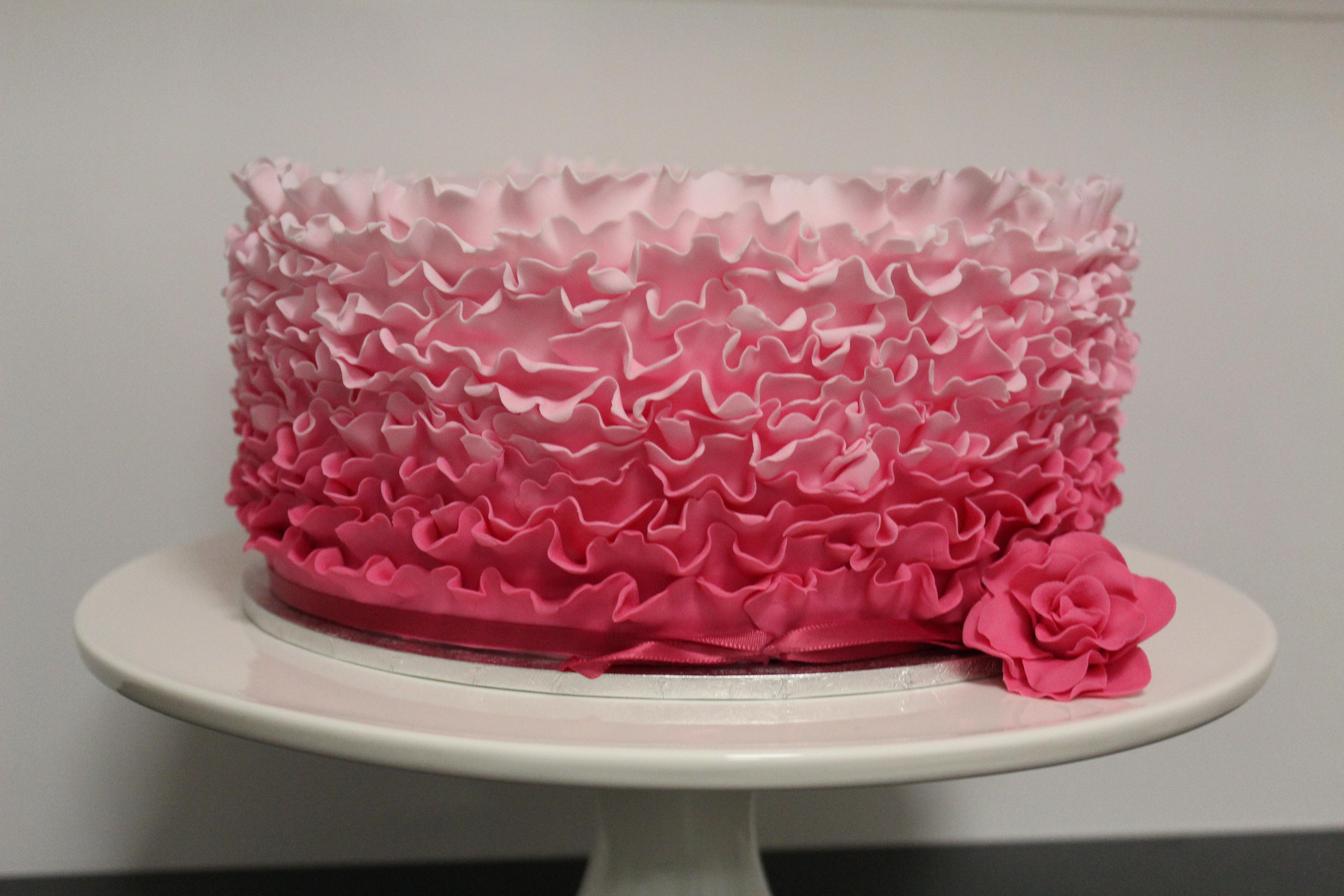 ruffled fondant cakes