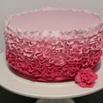 Pink Ombre Fondant Ruffle Cake