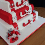 Red and White Suitcase Cake