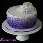 60th Purple Ruffle Cake